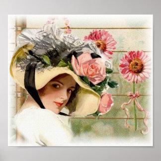 Señora de la flor del vintage póster