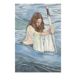 Señora de la impresión del lago fotografía