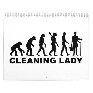 Señora de la limpieza de la evolución calendario de pared
