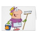 Señora de la limpieza del dibujo animado felicitacion