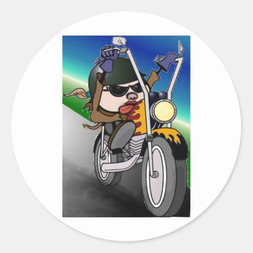 Señora de la motocicleta etiqueta redonda