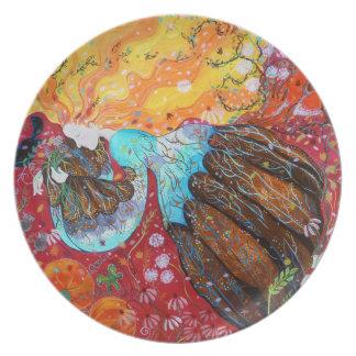 Señora de la naturaleza y las estaciones del año platos
