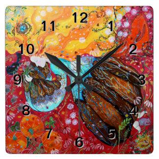 Señora de la naturaleza y las estaciones del año relojes