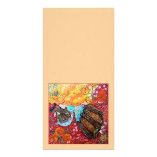 Señora de la naturaleza y las estaciones del año tarjeta fotografica