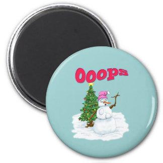 Señora de la nieve con el árbol de navidad OOps Imán Redondo 5 Cm