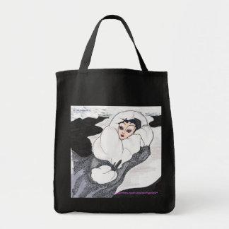 Señora de la noche del invierno que camina/bolso bolsa tela para la compra