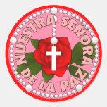 Señora de La Paz Etiquetas Redondas