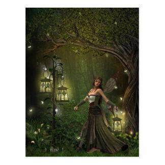 Señora de la postal de las linternas