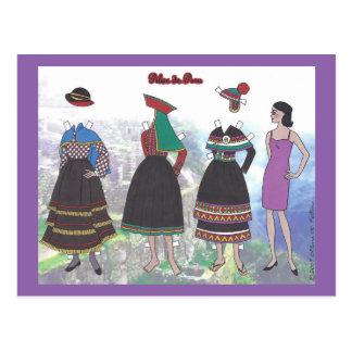 Señora de la postal de papel de la muñeca de Perú
