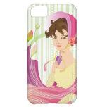 Señora de la regencia en el caso rosado de Iphone