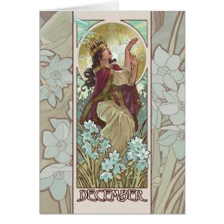 Señora de la tarjeta de felicitación de Nouveau