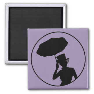 Señora de las cenizas imán, púrpura imán cuadrado