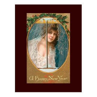 Señora de las postales del vintage de la Feliz Año