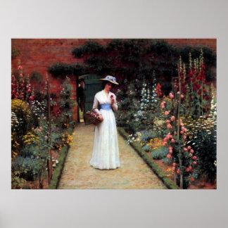 Señora de Leighton en un jardín Poster