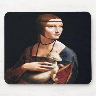 Señora de Leonardo da Vinci con un cojín de ratón  Alfombrilla De Ratón