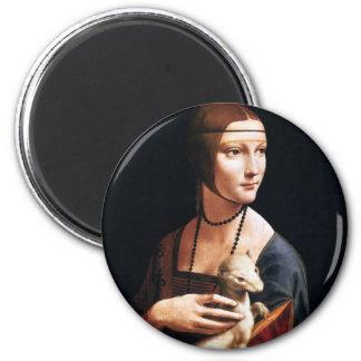 Señora de Leonardo da Vinci con un imán del armiño