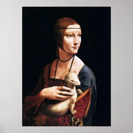 Señora de Leonardo da Vinci con un poster del armi