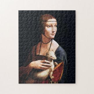 Señora de Leonardo da Vinci con un rompecabezas de