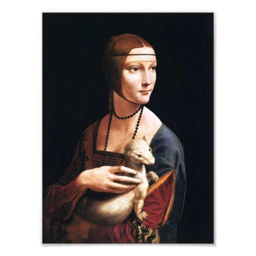 Señora de Leonardo da Vinci con una impresión de l Foto