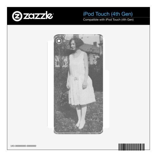 señora de los años 20 en el vestido blanco calcomanía para iPod touch 4G