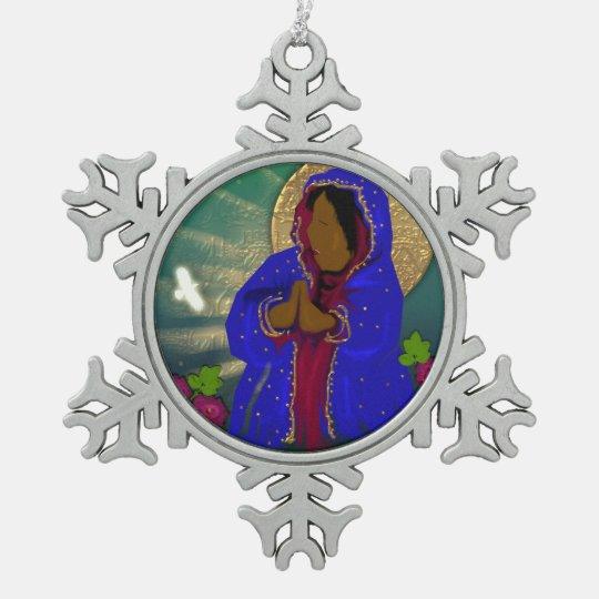 señora de los rosas adorno de peltre en forma de copo de nieve