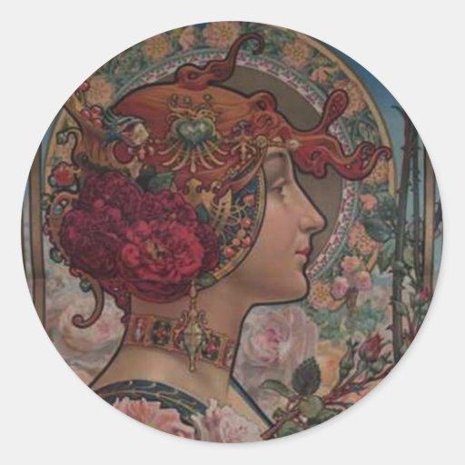 Señora de los rosas pegatina redonda
