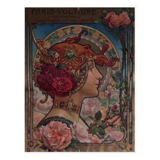 Señora de los rosas postales