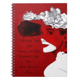 Señora de moda In Red Notebook Libro De Apuntes