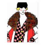 señora de moda tarjeta postal