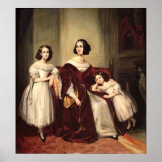 Señora de Nonjon y sus dos hijas, 1839 Póster