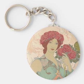 Señora de Nouveau del arte con los rosas Llavero Redondo Tipo Pin