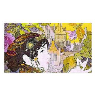 Señora de Nouveau del arte en un jardín Plantillas De Tarjeta De Negocio