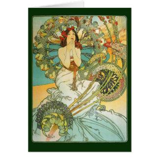 Señora de Nouveau del arte y pájaros nota o tarjet Tarjetón