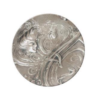 Señora de plata antigua Art Nouveau Vintage Platos De Cerámica