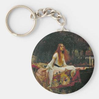 Señora de Shalott con el pelo que fluye Llavero Redondo Tipo Pin