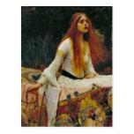 Señora de Shalott con el pelo que fluye Postal