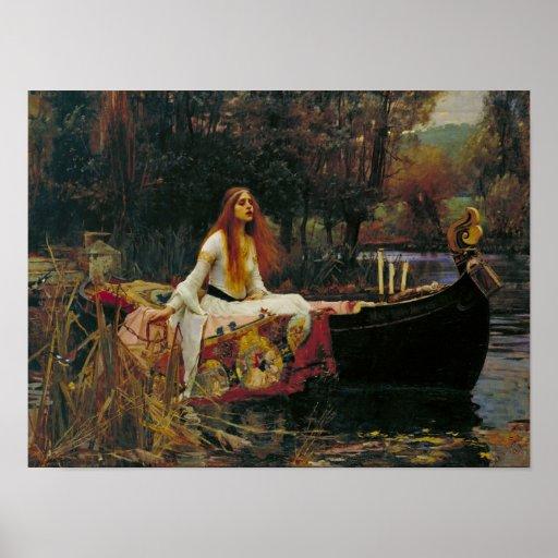 Señora de Shalott en su barco Póster