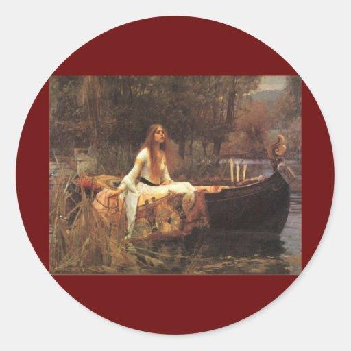 Señora de Shalott por el Waterhouse de Juan Pegatina Redonda