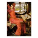 Señora de Shalott que se sienta en su escritorio Tarjeta De Felicitación