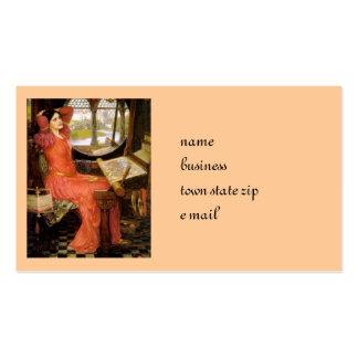 Señora de Shalott que se sienta en su escritorio Tarjetas De Visita