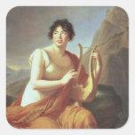 Señora de Stael como Corinne, 1809 Calcomania Cuadrada Personalizada
