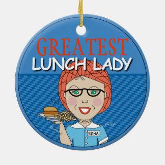 Señora del almuerzo adorno navideño redondo de cerámica