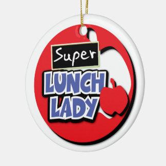 Señora del almuerzo - estupenda adorno navideño redondo de cerámica