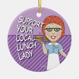 Señora del almuerzo - señora estupenda del adorno navideño redondo de cerámica