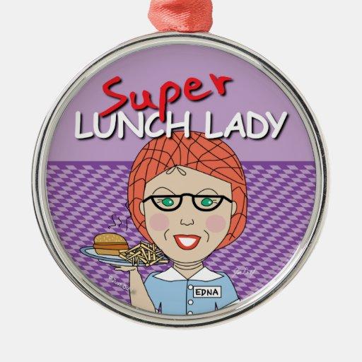 Señora del almuerzo - señora estupenda del adorno navideño redondo de metal