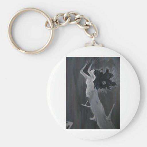 Señora del árbol llavero redondo tipo pin