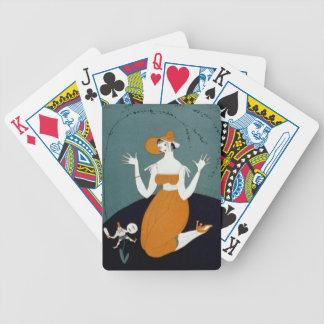 Señora del art déco - arrodillándose en el piso baraja de cartas bicycle