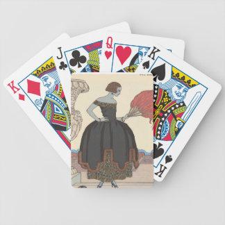 Señora del art déco - colocándose en la calle baraja de cartas bicycle