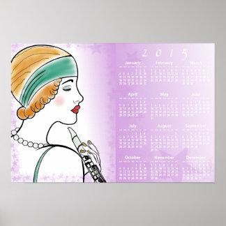 Señora del art déco con el calendario de pared del posters