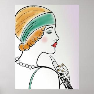 Señora del art déco con el Clarinet Póster